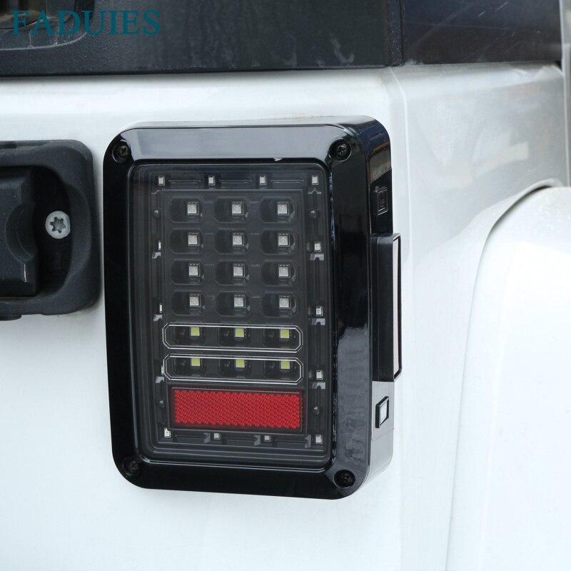 FADUIES Clear Lens LED Tail Lights Running/Brake Light Turn Signal Reverse Light For Jeep Wrangler JK  Brake Light<br>