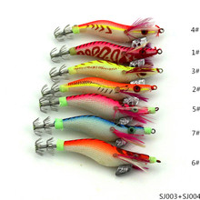 8cm Wood shrimp luminous explosion fake bait hook lures 7.4g wooden shrimp squid bait hook plastic bionic bait