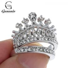 2 Piece/set Retro Women Rings Rhinestone Silver Plated Crown Wedding Band Ring Set Size 7