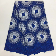 African Cotton Swiss Voile Lace Fabric High Quality Stones Swiss Voile Lace In Switzerland cotton african lace fabric blue PS110