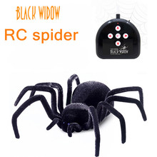 Remote Control Realistic RC Spider Scary Toy Prank Holiday Gift Model hot Sale A giant black widow spider Halloween toy gifts(China)