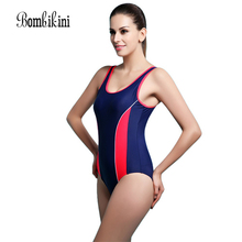 Bodysuit Sexy One Piece Swimsuit Sports Swimwear Women One Piece Racerback Swimsuit Monokini Beach Wear(China)