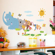 Elephant Monkey Animals For Kids Room Cartoon Wall Stickers PVC Removable Nursery House Decor