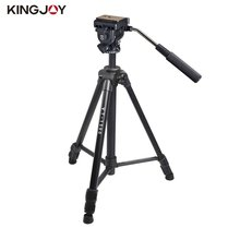 Kingjoy VT-1500 166cm/5.4ft Video Camera Tripod 3 Section Flip Lock Video Tripod With Fluid Damping Head For Camcorder(China)
