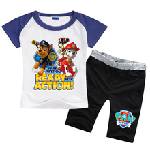 New 2017 Summer Boys Girls Patrol Dog Team Clothes Sets Casual Cotton Suits Sports T Shirt+Pants 2 Piece Kids Children Suits