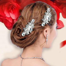 2017 New Arrival Silver Crystal Long Hair Comb Wedding Hair Vine Bridal Headband Accessories Tiara Handmade Women Pins Jewelry