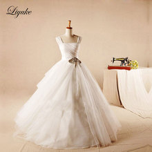 Buy Elegant Tulle A-Line Court Train Wedding Dress Line Luxury Appliques Lace Natural Waistline Pleat Bride Dresses for $200.16 in AliExpress store