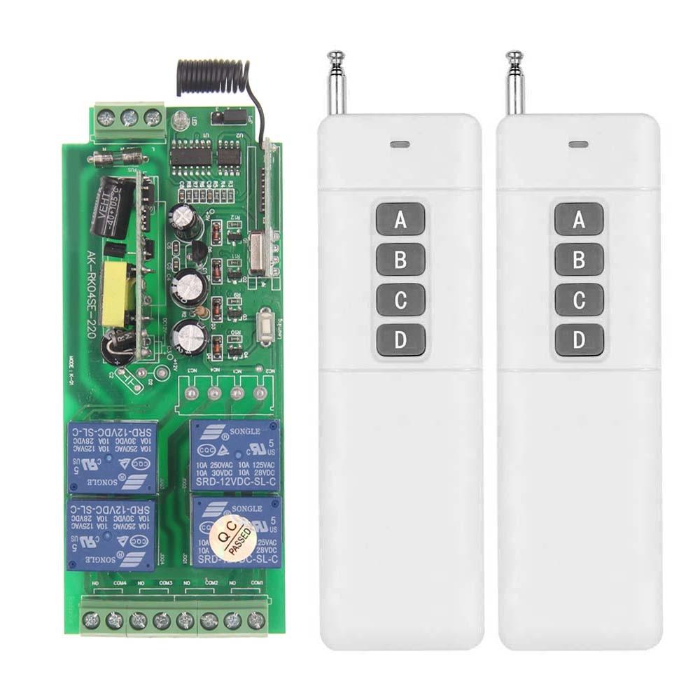 3000m AC 85V-265V 110V 220V 4 CH 4CH RF Wireless Remote Control Switch System Receiver + 2 X Transmitter, 315 433.92 MHZ<br><br>Aliexpress