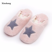 Women Home Slippers Warm Winter Cute Indoor House Shoes Bedroom Room For Guests Adults Girls Ladies Pink Soft Bottom Flats(China)