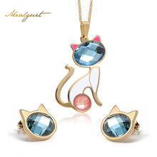 Meaeguet Necklace Earrings Jewelry Sets Crystal Cat Jewelry Sets For Women Fashion Stainless Steel Gold-Color Pendants Wholesale