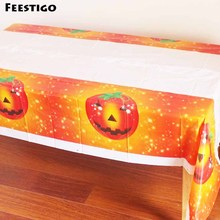 Feestigo 2PCS 180*108cm Halloween Decoration Pumpkin Table Cover Ghost Design Disposable Plastic Table Cloth Halloween Party(China)