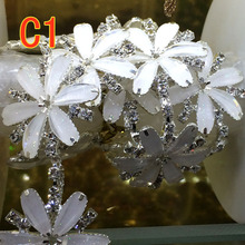 Six leaf petal shape glass crystal Rhinestones chain DIY Wedding dress and Sew on clothing jewelry accessories 1yard