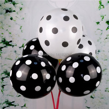 100pcs /lot New goods 12 inch 2.8g color dot candy little wave black and white balloons Birthday wedding decoration Balloon(China)