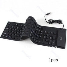 Flexible Keyboard Waterproof 109-Keys USB Silicone Rubber Flexible Foldable Keyboard For PC #K400Y#