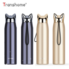 Thanshome Double Wall Thermos Bottle Stainless Steel Vacuum Flasks 320ml Cute Cat Fox Ear Thermal Coffee Tea Milk Travel Mug
