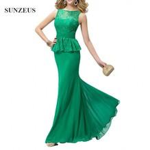 Elegant Green Dinner Dress Lace Top Chiffon Skirt Long Women Formal Evening Dresses Cheap Formal Wear Made In China SAU310