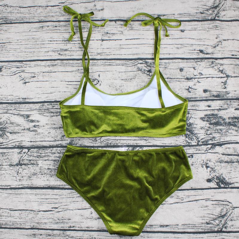 Sexy Brazilian Bikini 17 Blue Velvet Swimwear Women Swimsuit Push up Biquini Halter Bikinis Set Bathing Suit Maillot De Bain 27