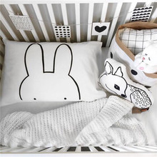 45X70CM Cotton Black and White Pillow Case Baby Bedding Cute Rabbit Pattern Pillow Covers Kids Nursery Room Decor No Insert