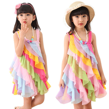 Girls Dress Rainbow Smocked Halter Children Clothing 2017 Summer Princess Wedding Party Dresses Girl Clothes #110-130