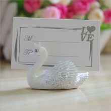 Free Shipping 10PCS White Swan Place Card Holder Wedding Palce Card Holder Wedding Decoration Centerpieces Table(China)