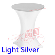 Light silver colour spandex top cover for round cocktail lycra table cloth wedding banquet party cocktail table decoration sale