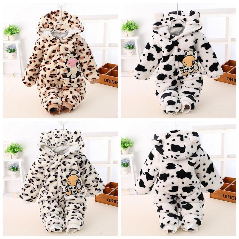 Winter Baby Girls Fleece Long Sleeve Animal Cow Hooded Kids Jumpsuit Rompers roupas de bebe<br><br>Aliexpress