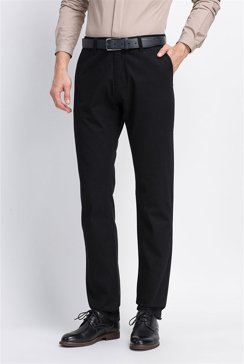 Spring Solid Mens Casual Pants Cotton Stretch Black Mens Slim Fit Long Trousers Fashion Zipper Fly High Quality Brand Clothing 10