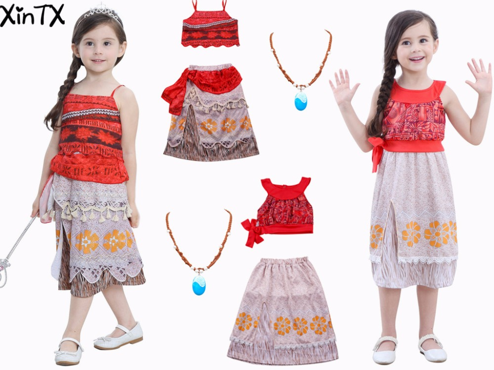 NEW Summer Moana Dress Girls Adventure Outfit Moana Costumes Dresses Kids Party Princess Cosplay Children Fantasy Xmas gift