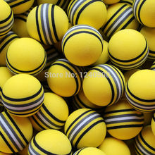 Free Shipping Hot NEW 50pcs/bag EVA Foam Golf Balls Yellow Rainbow Sponge Indoor Practice Training Aid