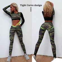 YD New GYM Fitness Tight Women Tracksuit Camouflage Stiching Sweatshirt Sets Yoga Sets Sport Wear Suit Workout Clothing Dropship(China)