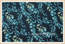 150cm width chiffon fabric leaves pattern dark blue background can see through for skirt suit-dress headband CH-6885