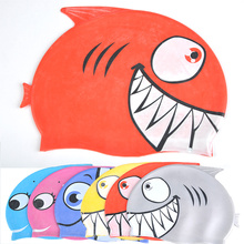 Hot Silicone Children Elastic Cartoon Fish Printed Swimming Cap Sports Pool Cute Swim Hat for Kids/Boys/Babys Color at Random
