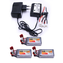 3pcs LiPo Battery 11.1 V 1500 Mah 3S 40C MAX 60C XT60/T Plug and charger For RC Car Airplane trucks buggy boats Helicopter(China)