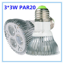Free shipping 10pcs/lot led par 20 e27 9W led Spotlight 110V 220v Dimmable PAR20