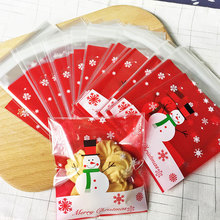 100 pcs/lot Red Christmas snowman adhesive bag cookies diy Gift Bags for Christmas Party Candy Food&Handmade soap Packaging bags