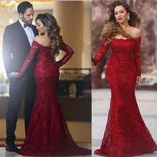 Formal Red Appliques Lace Mermaid Evening Dresses 2017 Designer Boat Neck Long Sleeve Long Prom Gowns Cheap Lace Evening Dress