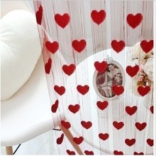 customized size 10ft*10ft fashion heart curtain /300cm*300cm populare design string curtain / string curtain for girl(China)