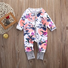 Cotton Newborn Baby Girl Floral Clothes Romper Kid Baby Jumper Playsuit Baby clothing Zipper Kids Little Girl Roupas