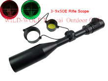 Hunting 3-9x50EG Red Green Illuminated Laser Hunting Rifle Scope Sight Mil-dot Reticle+Extinction tube With Sunshade For Airsoft