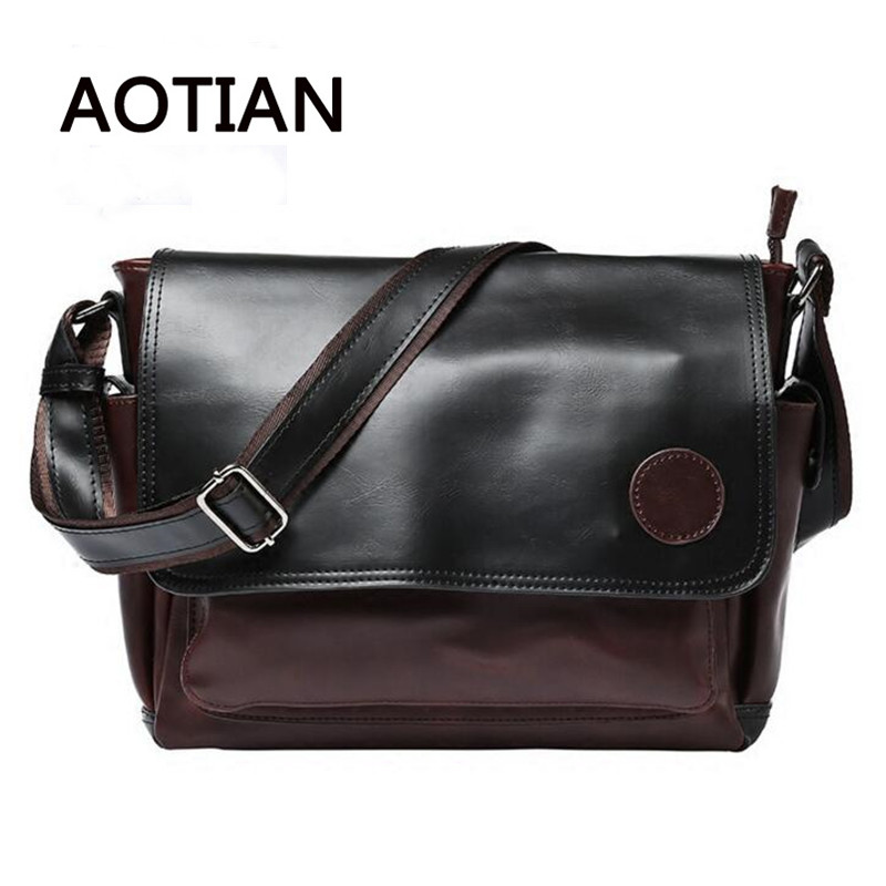 Genuine Leather Crossbody Bags For Men Crazy Horse Leather Vintage Messenger Bag Men Single Shoulder Bags High Quality Tote Bag<br>
