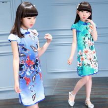 Fashion Chinese Style Vintage Cheongsam Girls Dresses Kids Clothes Summer Short Sleeve Print Princess Dress Children Vestidos
