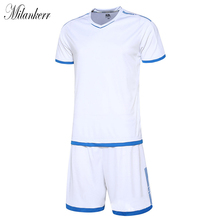 Short Sleeve Children Soccer Jerseys Kids Football Jersey Shorts Set Students Training Competition Wear Running Tracksuit DIY(China)