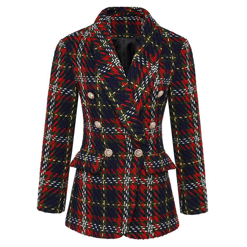 HIGH QUALITY Newest Fashion 2019 Designer Blazer Jacket Women's Double Breasted Lion Metal Buttons Plaid Tweed Wool Blazer Coat