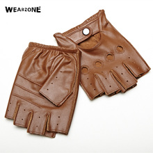 Genuine Leather Half Finger Gloves Men Summer Breathable Driving Semi-Finger Male Sheepskin Glove Free Shipping(China)