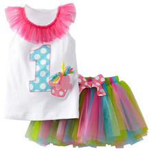 Summer Baby Girl Clothes Sets White 1 2 Number T-shirt + Mini Rainbow Tutu Skirt Suits For Baby First Birthday Outfits Kids Wear