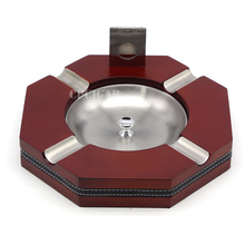 Brand New Multi-use Dismountable 4 Cigars Holder Wooden Metal Cigar Ashtray w/ Portable Cigar Cutter Guillotine Cigar Ash Tray(China)