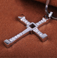 925 Sterling Silver Pendant The Fast and The Furious Dominic Toretto Vin Diesel CROSS Pendants Necklaces for Men Jewelry FJ056