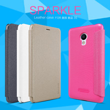 Leather case For Meizu M3s Nillkin sparkle series import pc environmental material mobile phone case protective cover(China)