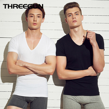 THREEGUN 2Pcs-Pack algodón Camisetas manga corta Fitness interior transpirable camisetas ceñida relajarse Strench(China)