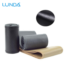 LUNDA  DIY Car Steering Wheel Cover With Needles and Thread Genuine Artificial leather free shipping